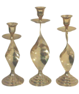 Hollywood Regency Modernist Brass Candle Holders-Set of Three - $135.00