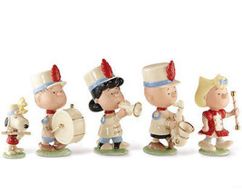 Lenox Peanuts Marching Band 5 Piece Figurine Set Charlie Snoopy Lucy 850... - $96.90