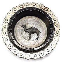 Camel Bicycle Chain Ashtray Glass Advertising Tobacciana Industrial Vint... - $38.49