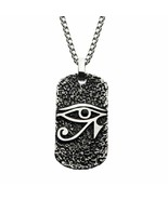 Stainless Steel Black CZ Eye of Horus Dog Tag Pendant with Chain - $60.00