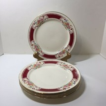 """4 Dinner Plates 9"""" Homer Laughlin F47N6 Pink Yellow Blue Flowers Red Insets - $24.18"""
