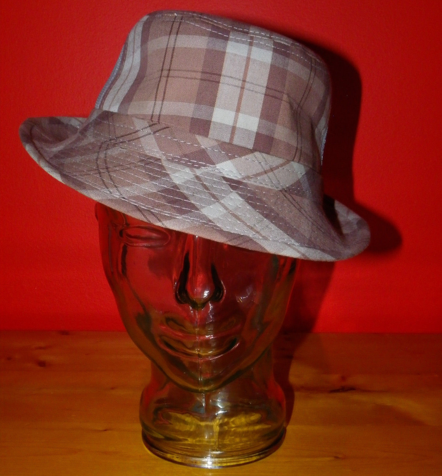 Dorfman Pacific Authentic Handmade Headwear Size M Warm Plaid Fedora Trilby image 1