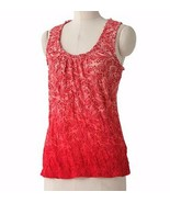 Elle Red Orange Tie Dye Crinkle Sleeveless Tank Top Cami S Small - $19.99