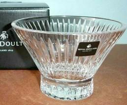 Royal Doulton Manhattan Crystal Mini Candy Nut Bowl w/Pedestal Art Deco NEW - $39.90