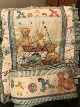 2 Piece Lambs And Ivy Baby Crib Set Bumper And Blanket Nursery Bears Hearts 1994 - $39.59
