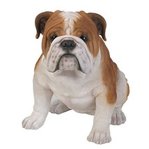 Realistic Life Size Bulldog Statue Detailed Glass Eyes Hand Painted Resin 18 inc - $145.10