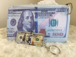 100 Dollar Bill Print 7x4.5 Clutch Wallet Purse 3 Inch Keychain Holiday ... - $10.88