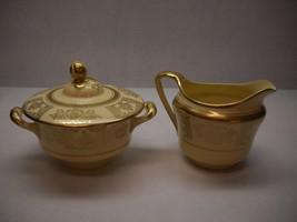 VINTAGE Johnson BROS Cream and SUGAR Set Gold SWIRL Floral DESIGN Cream ... - $37.61