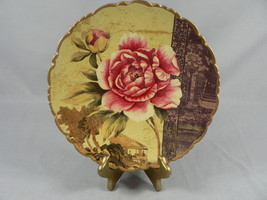 Asian Decorative Plate and Easel Stand Rose Floral Scallop Edge - $21.29