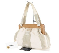 Authentic CHANEL Beige and White Canvas and Woo... - $395.00