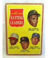 Roberto Clemente/Pinson/Boyer/Moon 1960 Topps Batting Leaders Card#52 VG... - $29.69