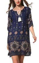 Women's Bohemian Vintage Printed Loose Casual Boho Tunic Dress - $45.95