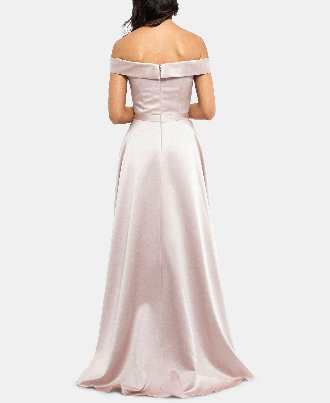 XSCAPE Off-The-Shoulder Satin Gown Beige Size 6 $259 image 3