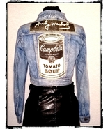 Women's Custom Andy Warhol Campbell's Soup Denim Jacket M - $50.00