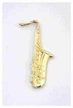 large gold plated saxophone. Lapel Pin, Badge, tie pin, very detailed