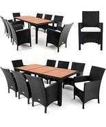 Garden Patio Dining Set Armchair Table Rattan & Wood 9pc Outdoor Furnitu... - $729.86