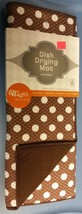 "Microfiber Drying Mat, Approx 16"" X 19"", White Polka Dots On Brown, By Sl - $12.86"