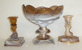 Akro Agate 1950's Imperial Glass CARAMEL SLAG Dolphin Candlestick Holders & Bowl - $99.99