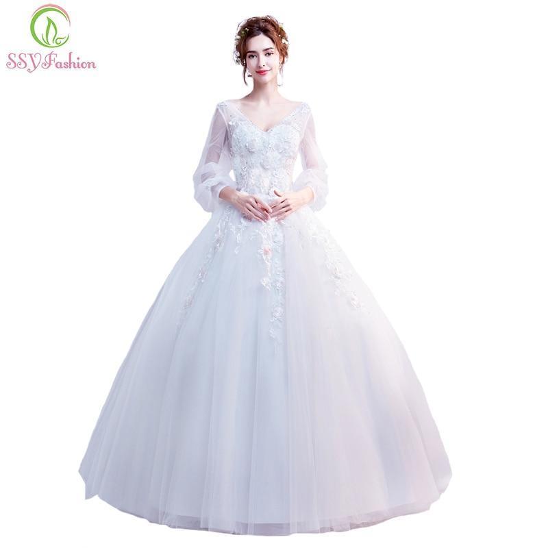 Ssyfashion Long Sleeve Wedding Dresses The Bride Elegant: SSYFashion New Wedding Dress The Bride Married V-neck Long
