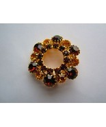 vintage gold tone amber & rust color rhinestones cluster wreath - $15.00