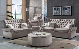 McFerran SF1706 Light Grey Linen Fabric W/ Tufted Back Living Room Sofa ... - €1.569,31 EUR