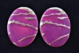 80s Oval Glam Enamel Stud Statement Earrings Purple Mod Retro Costume Je... - $10.39