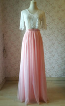 High Waisted Long Tulle Skirt Bridesmaid Outfit Tutu Skirt,Blush Pink (US0-US28) image 1