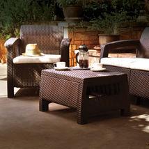 3pcs Rattan Garden Balcony Set Armchairs Coffee Table Patio Furniture Brown image 6