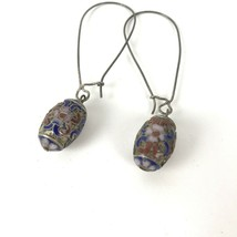 Vintage Earrings Cloisonne Floral Flower Drop Dangle Artisan Boho Hippie - $17.81
