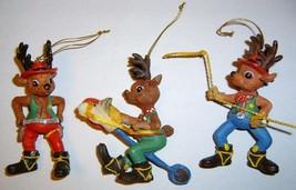 3 Rootin' Tootin' Western Cowboy Reindeer Ornaments - $14.99