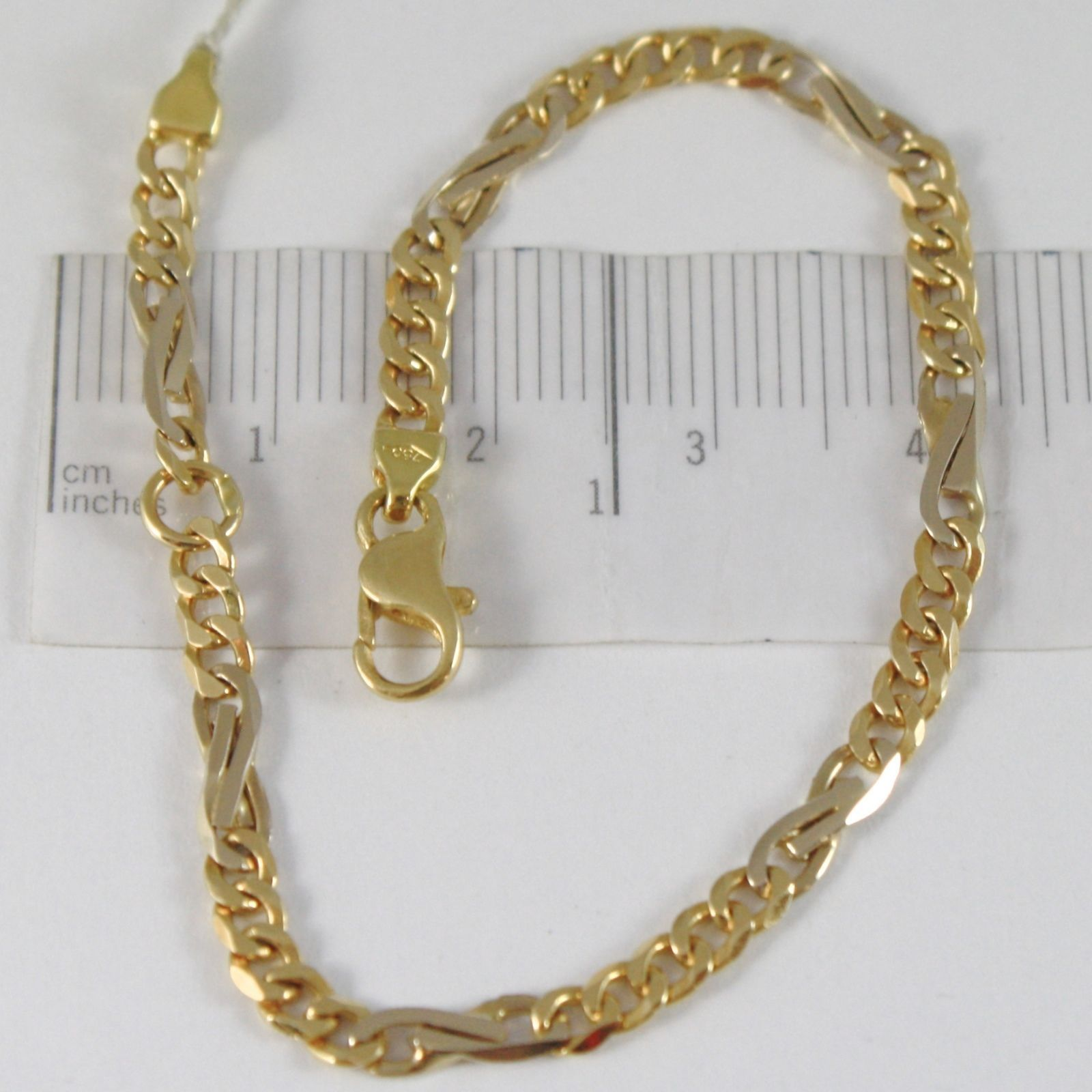 BRACELET YELLOW GOLD WHITE 750 18K, GRUMETTA ROUNDED AND INFINITY 16.5 CM