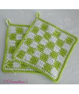 Green & White Checked Crochet Pot Holders Kitchen Hot Pads Classic Desig... - $16.99
