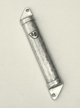 Judaica Metal Hammered Mezuzah Case Silver Tone 6 cm Open Back