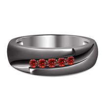 Five Stone Band Men's Ring Round Cut Red Garnet 14k Black Gold Plated 92... - $88.90