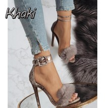 Fashion Women's  Feathers High heels Transparent Sandals Plush Hollow Sexy Shoes