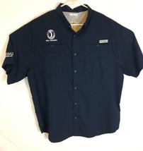 Columbia MCPOA Golf Scramble Men Short Sleeve Vented Fishing Shirt Blue LEGACY - $15.88