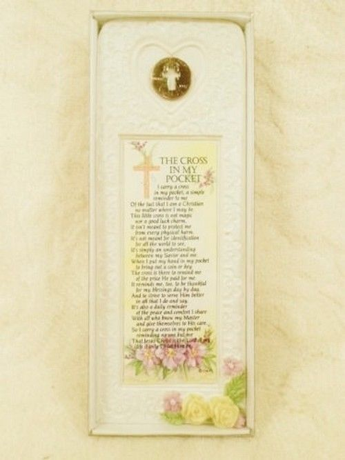 The Cross in My Pocket Religious Easter Plaque Kathy Ann Penny Plaques Vintage