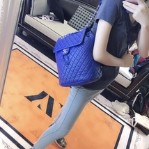 AUTHENTIC CHANEL ELECTRIC BLUE QUILTED LEATHER LARGE URBAN SPIRIT BACKPACK SHW image 3