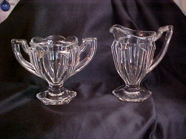 Vintage Crystal Clear Footed Heavy Glass Cream Pitcher and Sugar Set - $29.99