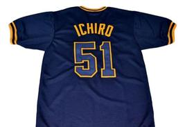 Ichiro Suzuki #51 Orix Blue Wave New Men Baseball Jersey Navy Blue Any Size image 4