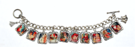 Charm Bracelet Christmas Old World Holiday Theme Tile Charm Toggle Bracelet - $28.52