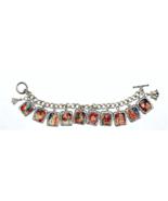 Charm Bracelet Christmas Old World Holiday Theme Tile Charm Toggle Bracelet - $28.52