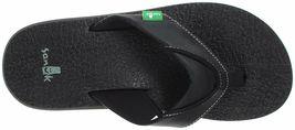 NEW Sanuk Men's Black Beer Cozy Thong Flip-Flop Beach Sandals Slippers 1174140 image 6