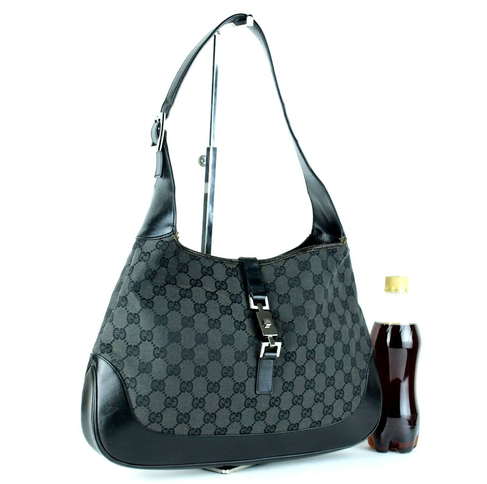 Auth GUCCI GG Black Canvas & Leather Jackie Hobo One Shoulder Bag Purse Italy