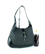 Auth GUCCI GG Black Canvas & Leather Jackie Hobo One Shoulder Bag Purse ... - $147.51