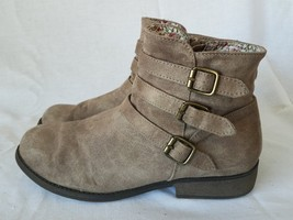Mudd Ankle Boots Brown Textile Zip Front Straps Womens Size 5 M - £23.22 GBP