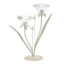 Crystal Flower Double Posy Candle Holder - $15.77