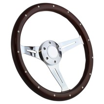 "Hot Rod, Street Rod, 15"" Mahogany & Chrome Steering Wheel, for GM-style Column - $179.99"