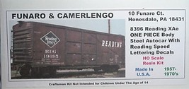Funaro F&C HO READING XAe Steel Autocar w/ Speed lettering decals Kit 8396 image 1