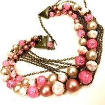 Vtg Multi strand Necklace Pink Plastic beads gold tone wedding bridal Mo... - £14.33 GBP